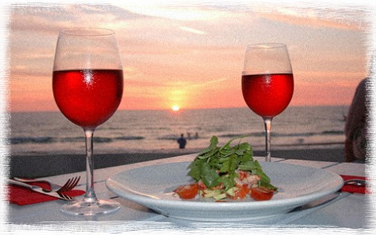 романтический ужин с шампанским и при свечах