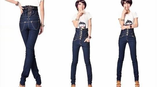 джинсы с завышенной линией талии для девушек